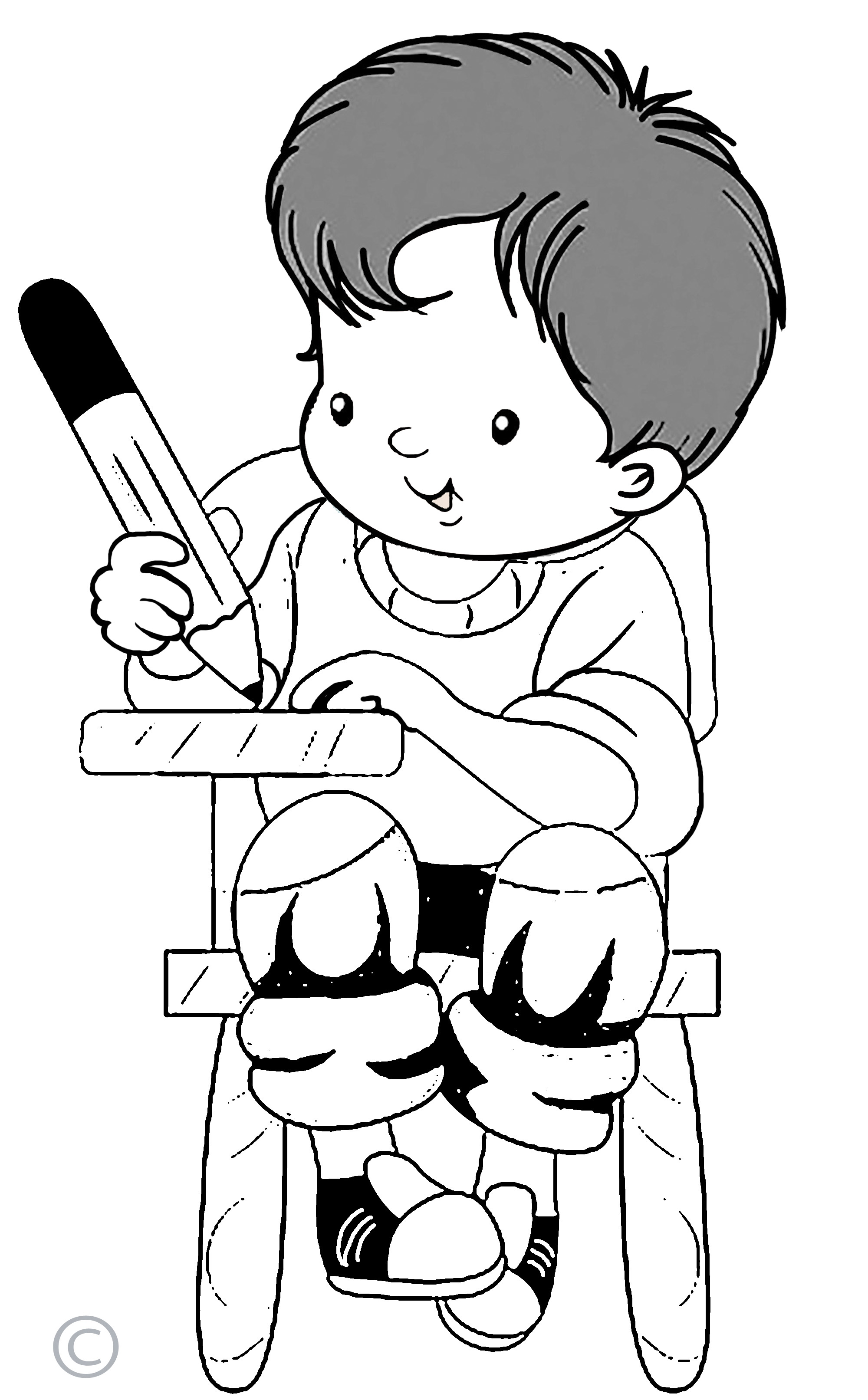 Kids Writing Clipart Black And White Free