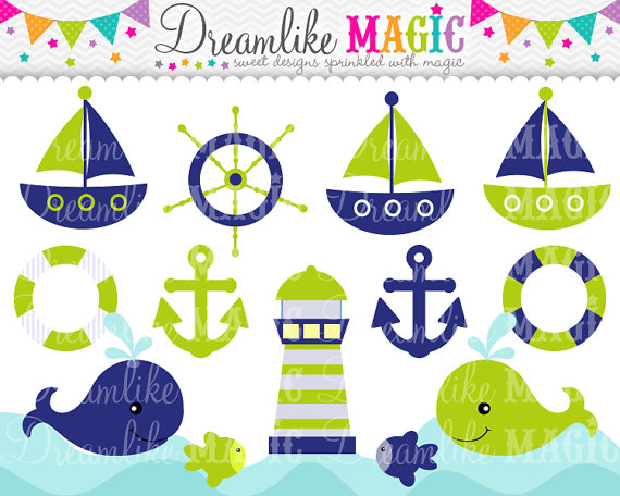 Lime Green And Navy Nautical Clipart Clipart Fordreamlikemagic
