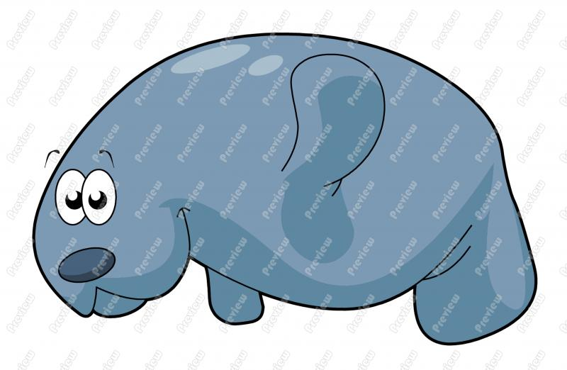 Manatee Character Clip Art Royalty Free Clipart Vector Cartoon