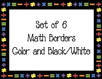 Math Borders Set Of 6 Borders Letter Legal Math Rocks