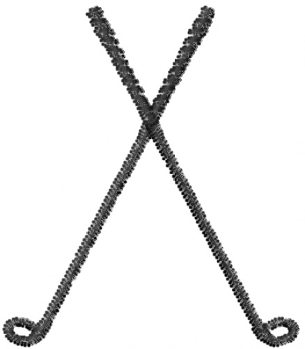 Mead Artworks Embroidery Design Crossed Golf Clubs 1 Inches H