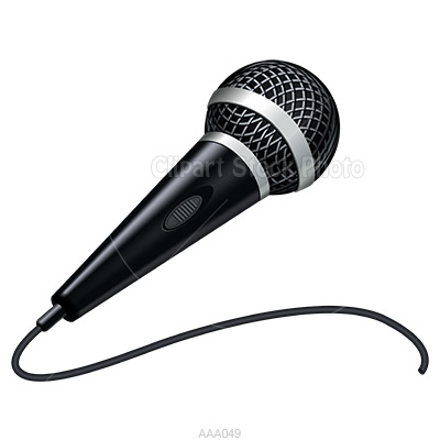Microphone Clip Art Handheld Black And White Mic Graphic Illustration
