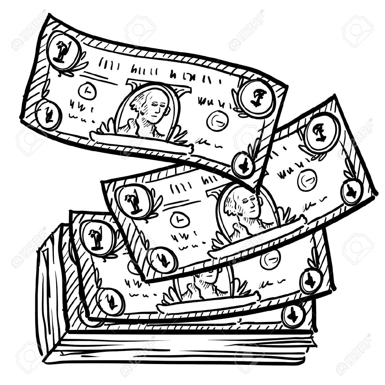 Line Drawing Money : Best money clipart black and white clipartion
