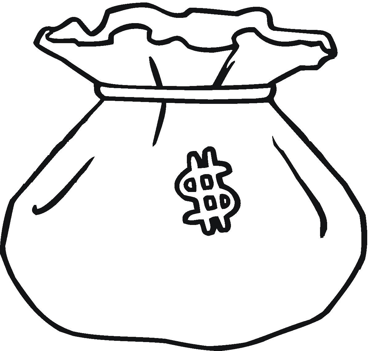 Best money clipart black and white 13914 for Bag coloring page