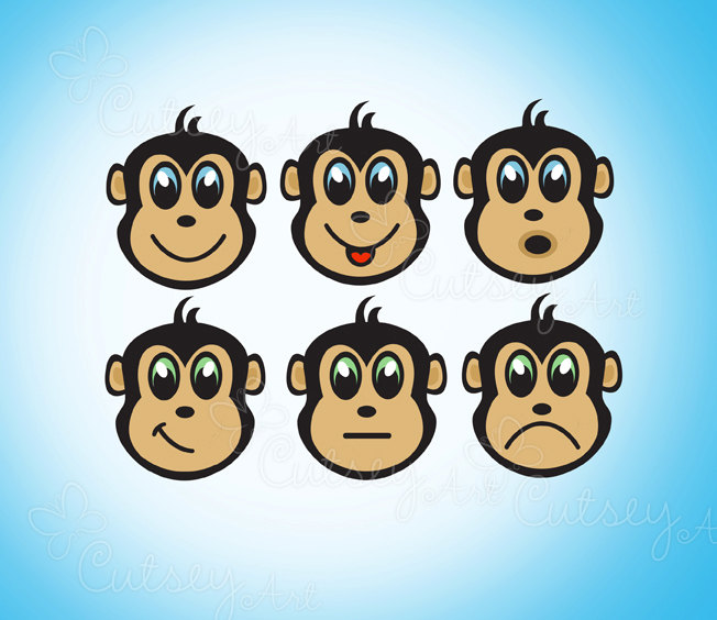 Monkey Face Clipart Personal And Commercial Usecutesyartshop