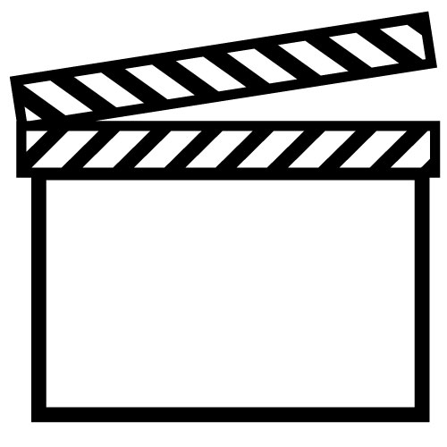 Movie Clapper Description Line Art Black And White Outline Of