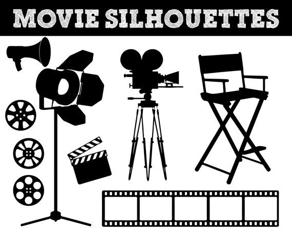 Movie Film Silhouettes Camera Silhouette Video Clipart