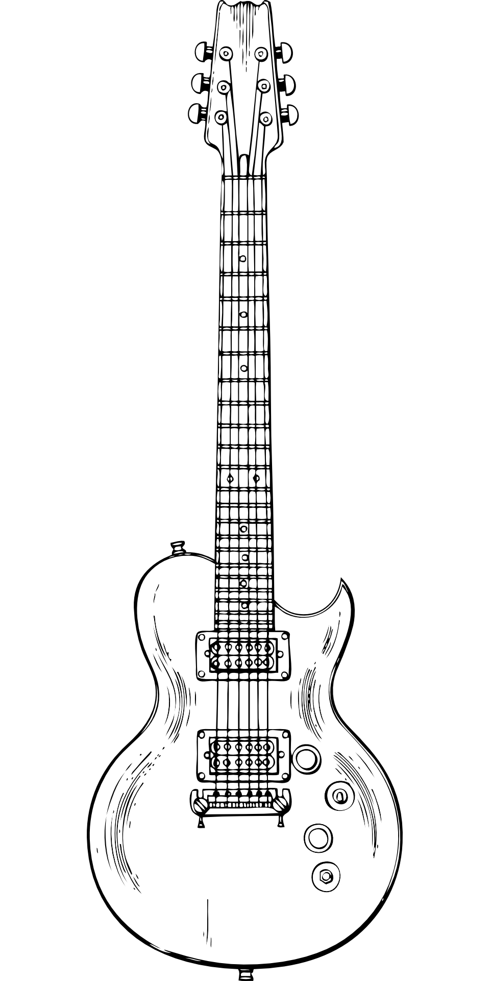 Musical Instrument Electric Guitar Outline Vector Free Psd