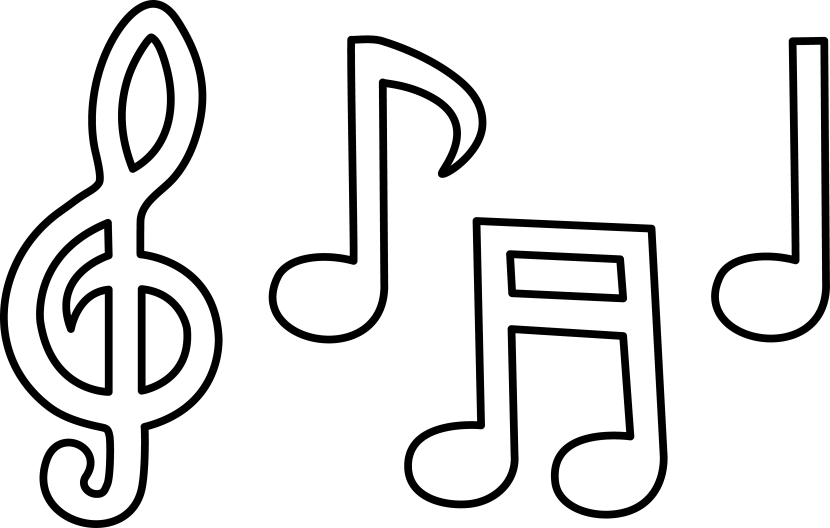 love music notes coloring pages | Black And White Music Notes - Clipartion.com
