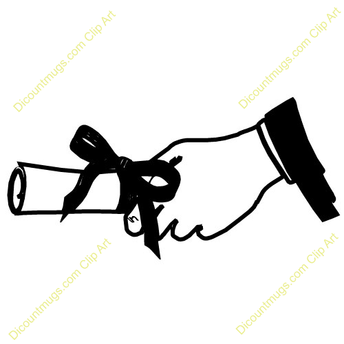 Name Hand With Diploma Description Holding A Black Clipart