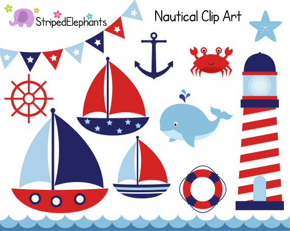 Nautical Clip Art Sail Boat Clipart Red Andstripedelephants