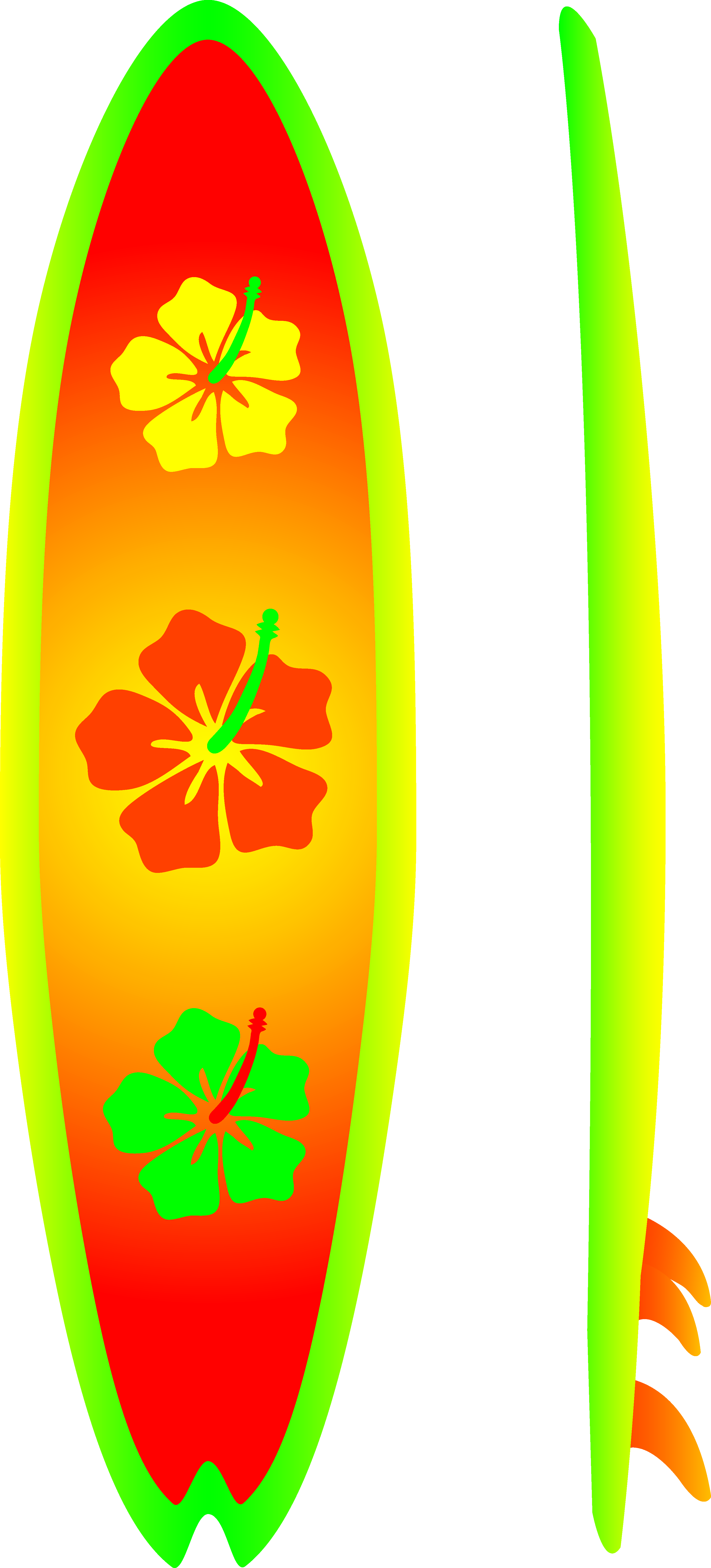 Neon Surfboard With Hibiscus Design Free Clip Art
