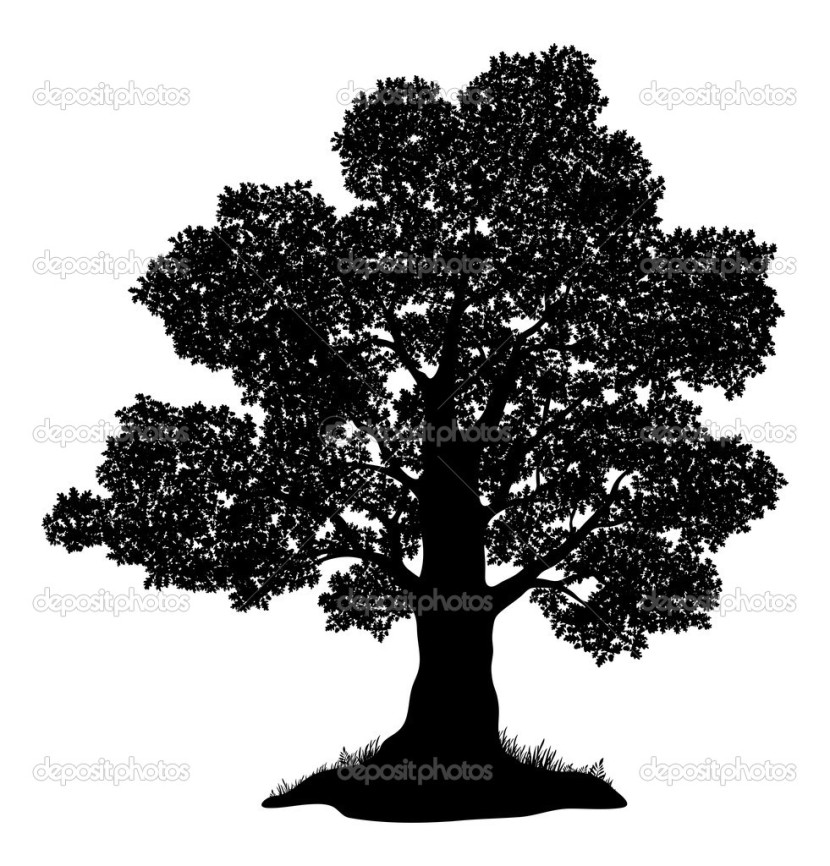 Oak Tree And Grass Silhouette Stock Vector Oksanaok