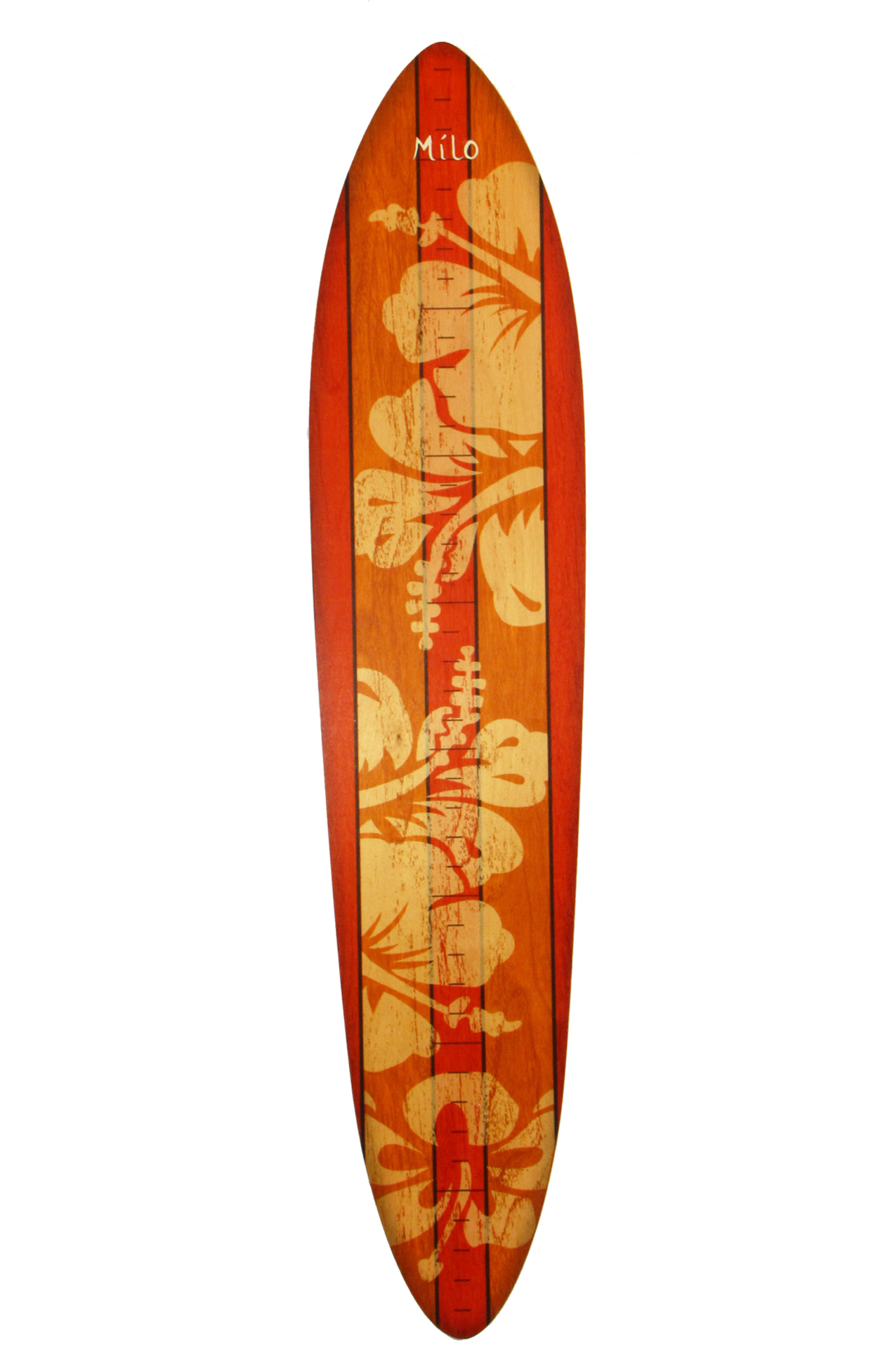 Orange Hibiscus Wooden Vintage Surfboard Growth Chart Clipart