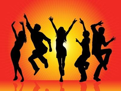 Orange People Dancing Clipart