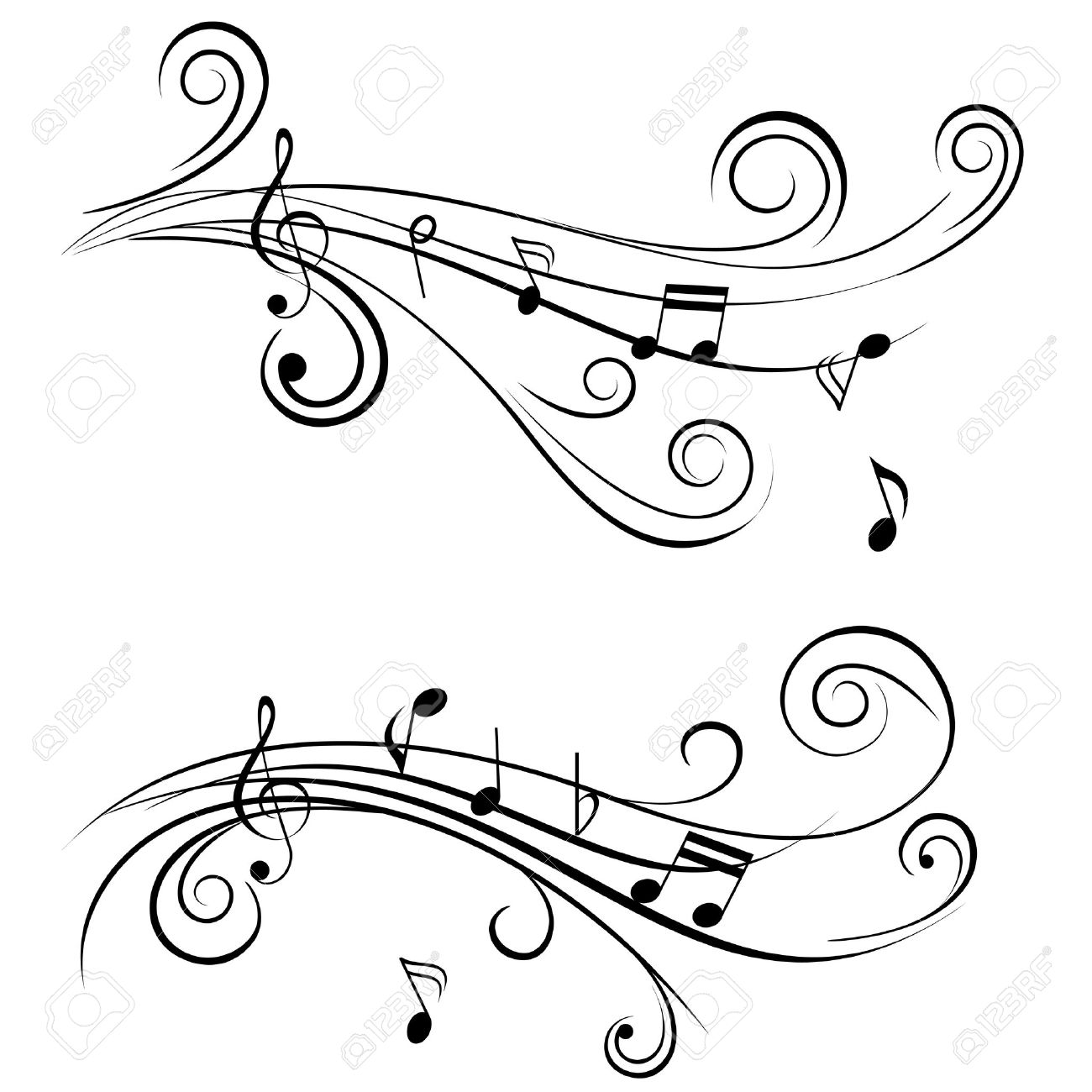 Ornamental Music Notes With Swirls On White Background Royalty