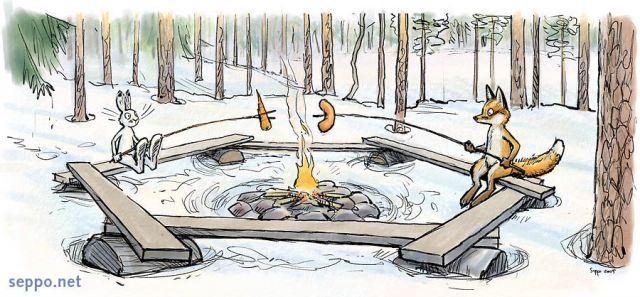 Outdoors Hare And Fox At Campfire Environmental Cartoons