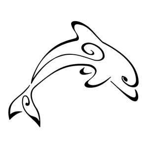 Outline Of A Dolphin Vinyl Stickers Sticker H Cm W