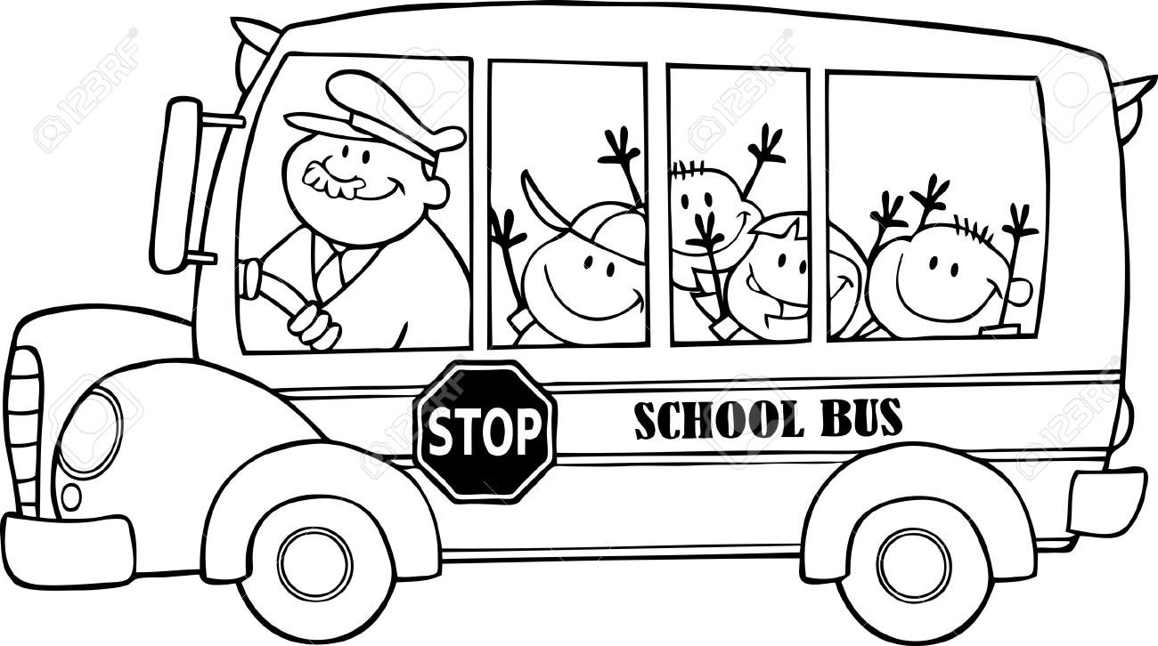 Outlined School Bus With Happy Children Royalty Free Cliparts