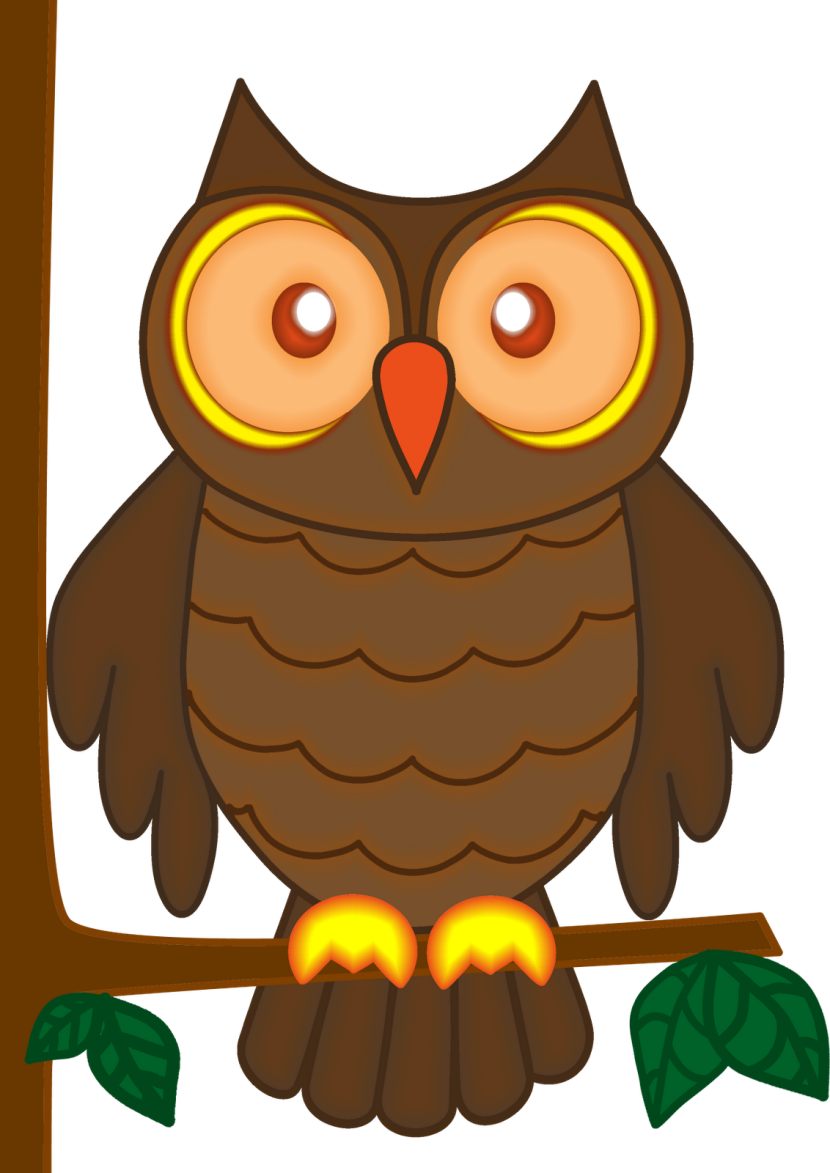 Owl On Branch Clip Art