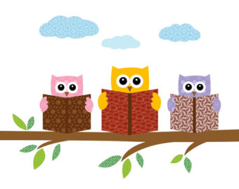 Owls Reading Books On A Tree Branch Print Poster Illustration