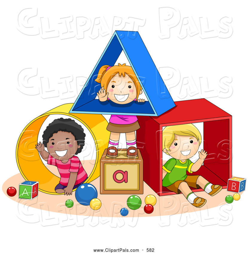 Pal Clipart Of Diverse School Kids Playing With Shapes At A