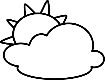 Partly Cloudy Clipart Black And White Free