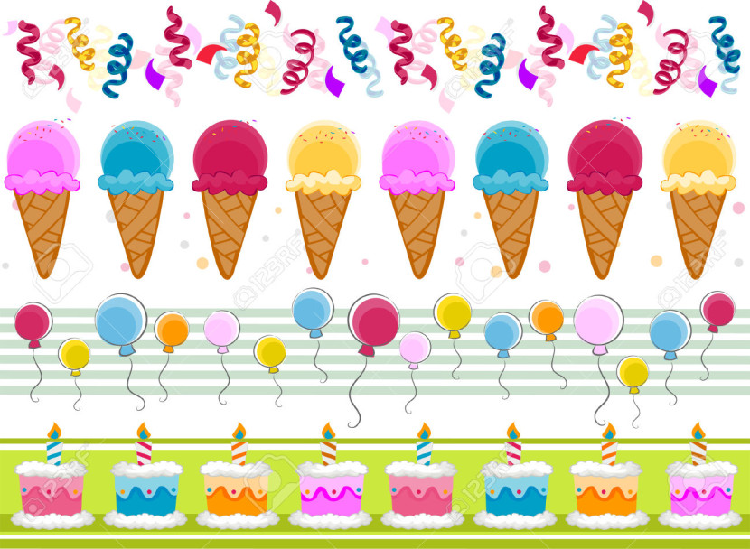Party Border Set With Clipping Path Royalty Free Cliparts Vectors
