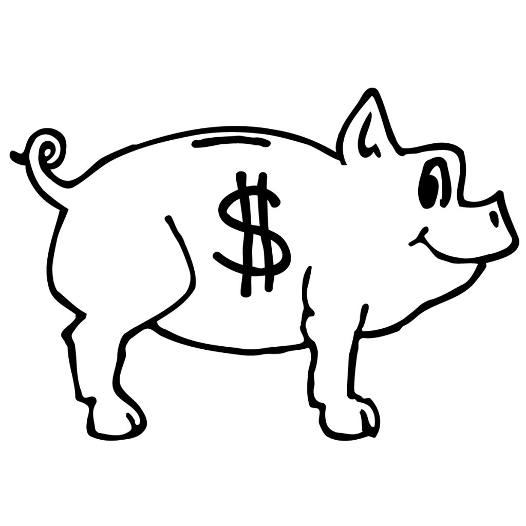 Piggy Bank Clip Art Black And White Free Clipart