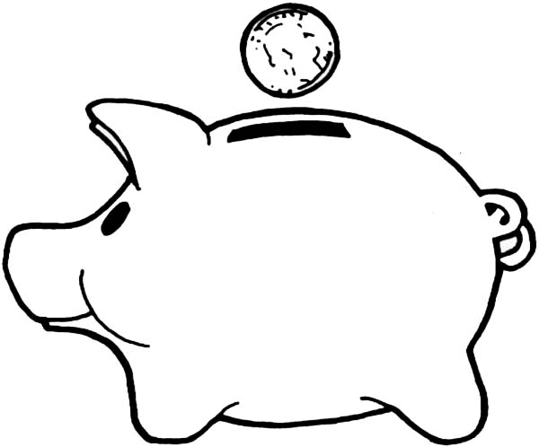 Piggy Bank Clipart Black And White Free Clipart