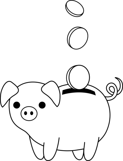 Piggy Bank Colorable Line Art Free Clip Art