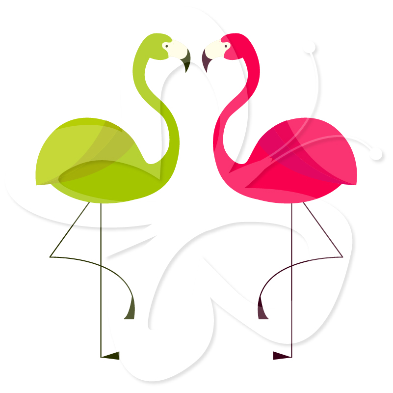 Pink Flamingo Emoticons Clipart