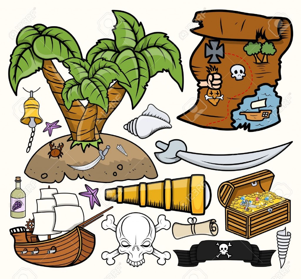 Pirates Treasure Hunt Vector Illustrations Set Royalty Free
