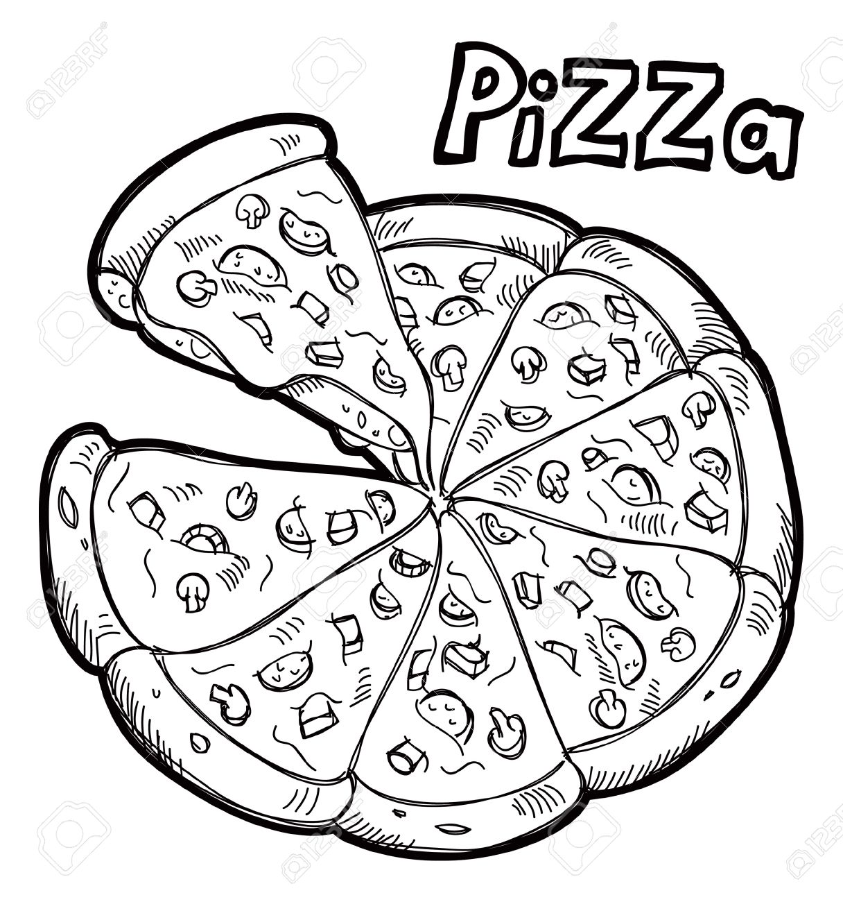 Best Pizza Clipart Black And White #6397 - Clipartion.com