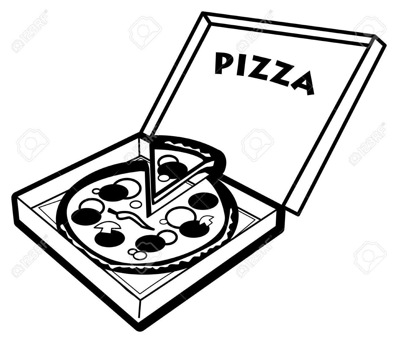 Best Pizza Clipart Black And White #6402 - Clipartion.com