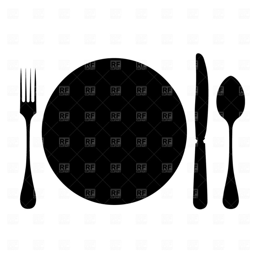 Plate Fork Knife Spoon Clip Art Clipart Free Clipart