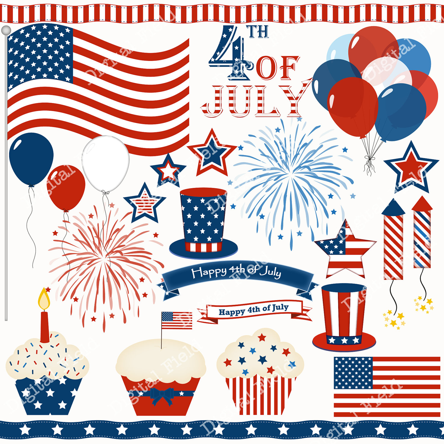 Popular Items For 4th Of July Clip Art On Etsy