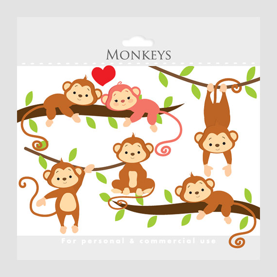 Popular Items For Monkey Clip Art On Etsy