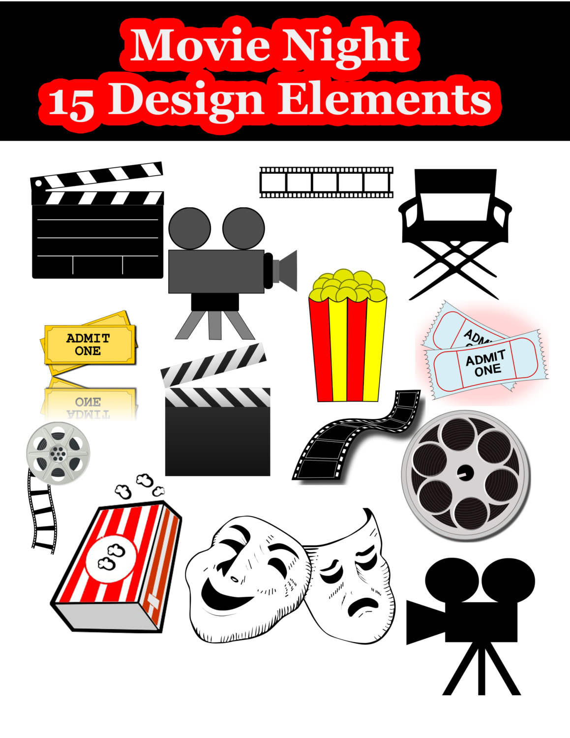 Popular Items For Movie Clipart On Etsy