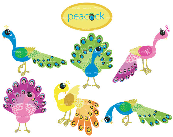 Popular Items For Peacock Clip Art On Etsy