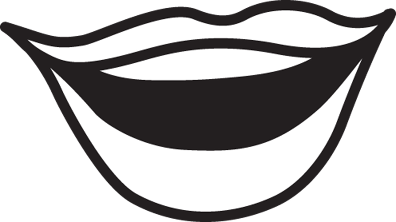 Mouth talking clipart black and white