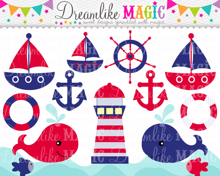 Red And Navy Nautical Clipart Clipart Fordreamlikemagic