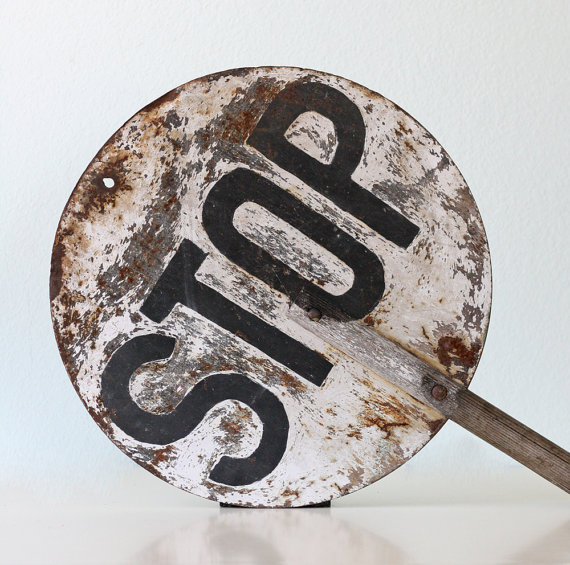 Reserved Vintage Stop Sign Black And Whitebellalulu On Etsy