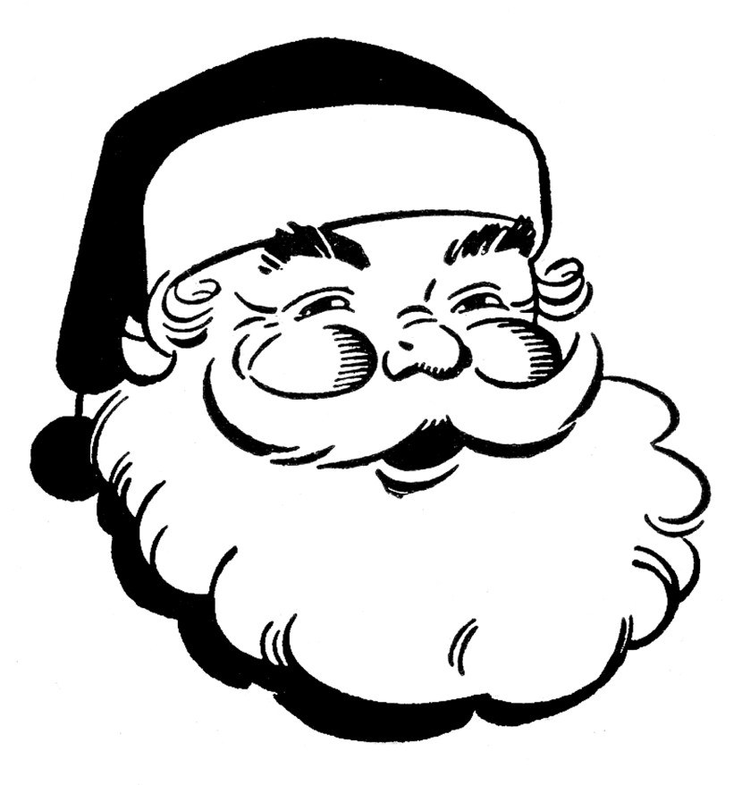 Retro Christmas Clip Art Jolly Santa