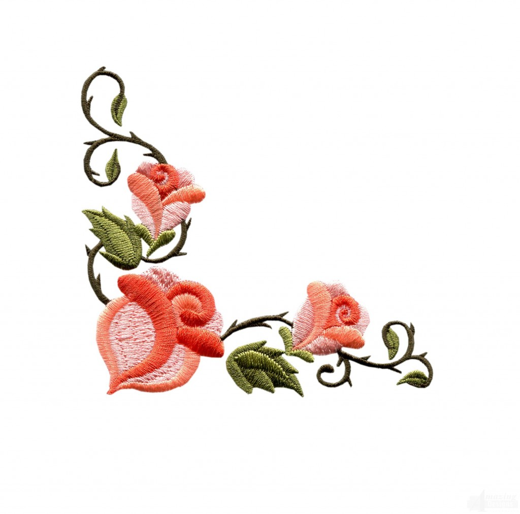 Rose Floral Border 3 Embroidery Design