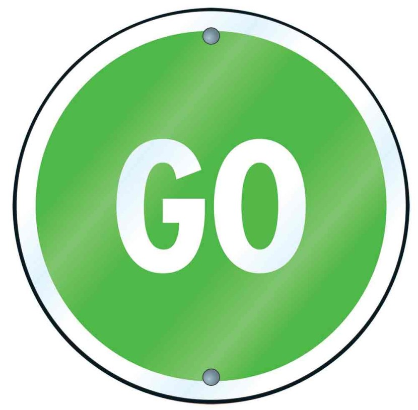 Round Green Go Sign Clipart