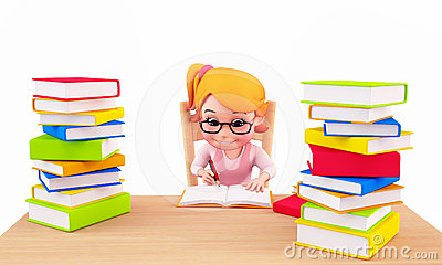 Royalty Free Stock Photo Cute Girl Writing On The Books Image