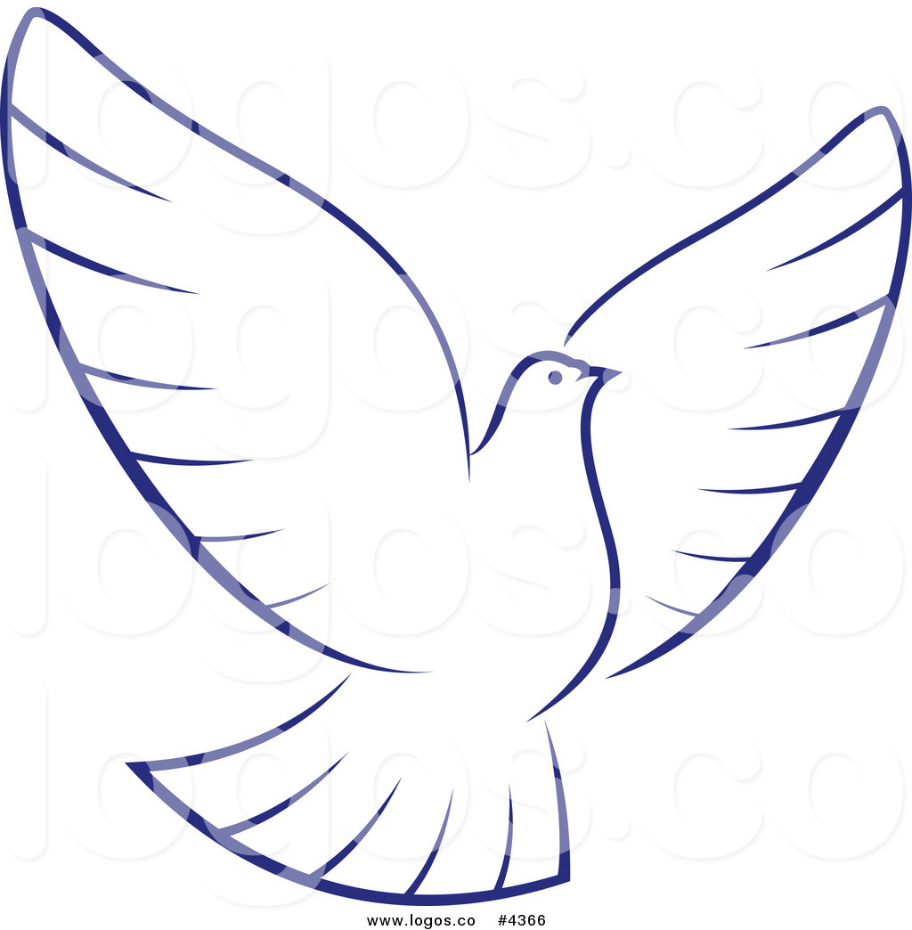 Royalty Free White Dove With Blue Outline Logoseamartini