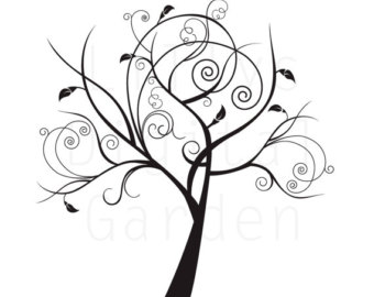 Same Tree Seasons Black Clipart