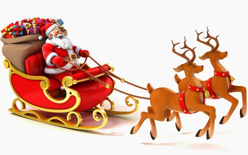 Santa Claus Coming To Town Riding His Reindeer Sleigh Flying